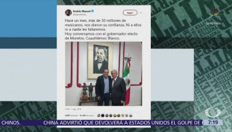 AMLO recibe a Cuauhtémoc Blanco