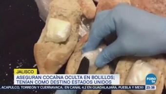 Aseguran cocaína oculta en bolillos