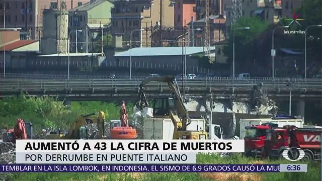 Aumenta a 43 la cifra de muertos por derrumbe puente italiano
