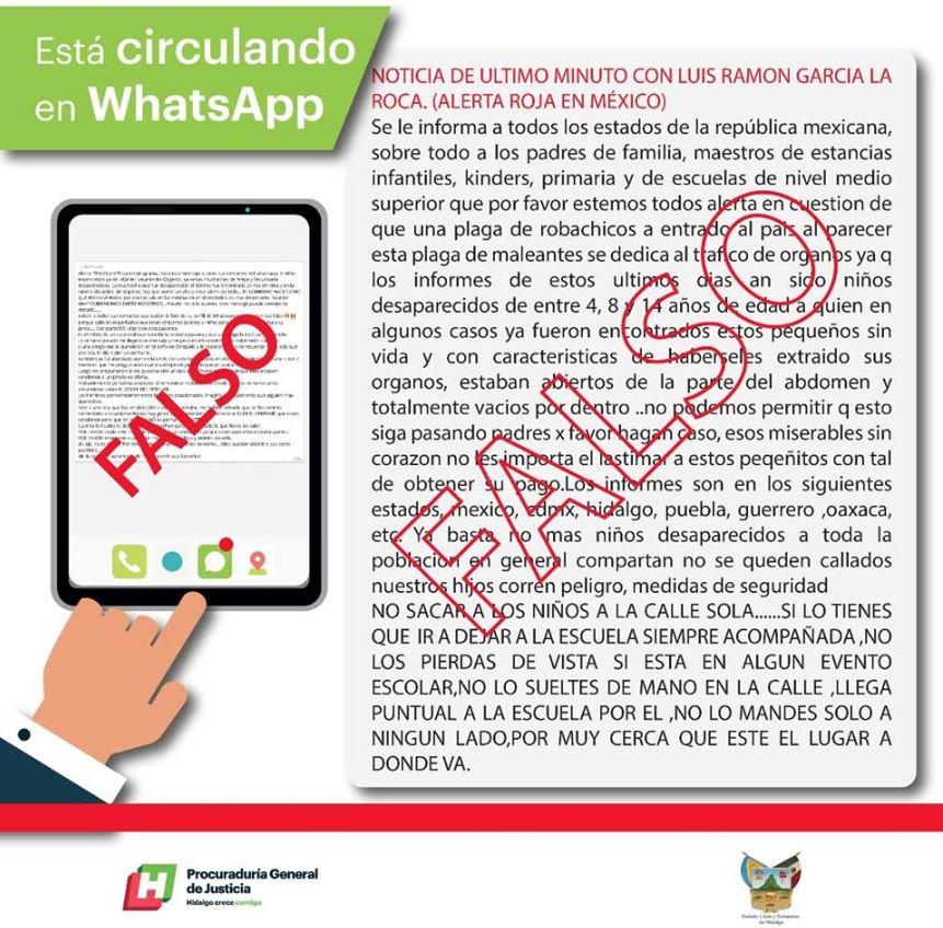 Autoridades de Hidalgo desmienten rumor sobre 'banda de robachicos'