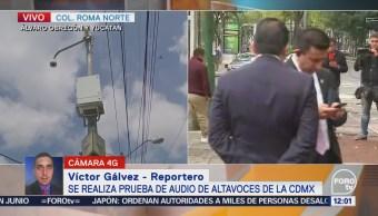 Autoridades de la CDMX realizan prueba de audio de altavoces para alertar sismos