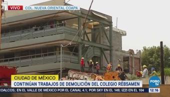 Avanzan trabajos de demolición en Colegio Rébsamen