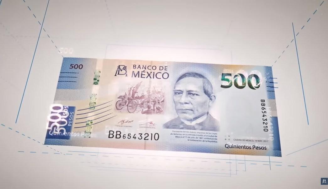 Billete de 500 pesos Banxico Benito Juarez