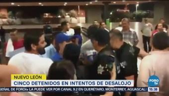 Cinco Detenidos Intentos Desalojo Plantón Nl Simpatizantes Del Pan Monterrey Policías Del Ayuntamiento
