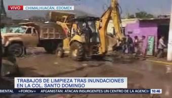 Chimalhuacán realiza labores de limpieza luego de lluvia