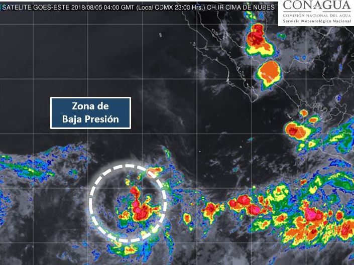 zona baja presion se localiza costas baja california sur
