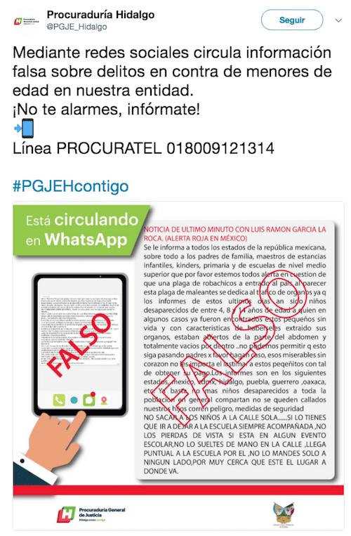 Linchamientos Mensaje Falso Procuraduría General Hidalgo WhatsApp