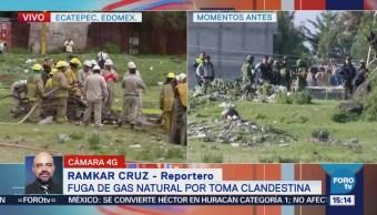 Controlan fuga de gas natural por toma clandestina Ecatepec