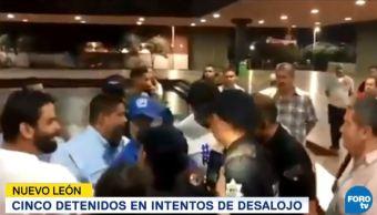 detienen cinco personas intento desalojo panistas monterrey
