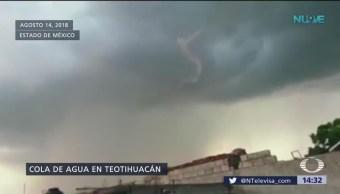 Enorme nube negra sorprende a pobladores en Teotihuacan