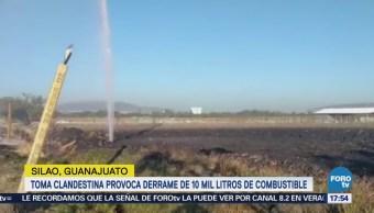 Guanajuato: toma clandestina provoca derrame combustible
