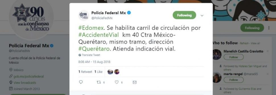 Habilitan carril a la circulación por accidente en la autopista México-Querétaro