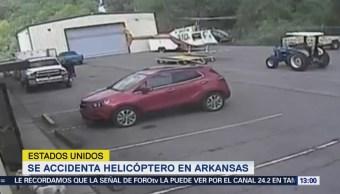 Helicóptero se accidenta en estacionamiento de Arkansas
