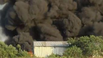 Incendio en planta recicladora en Pesquería, Nuevo León