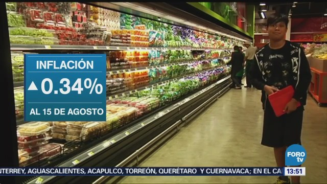 Inflación en México crece 0.34 por ciento en agosto: INEGI