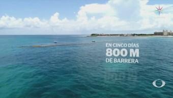 Instalan barreras para sargazo llegue playas de Quintana Roo