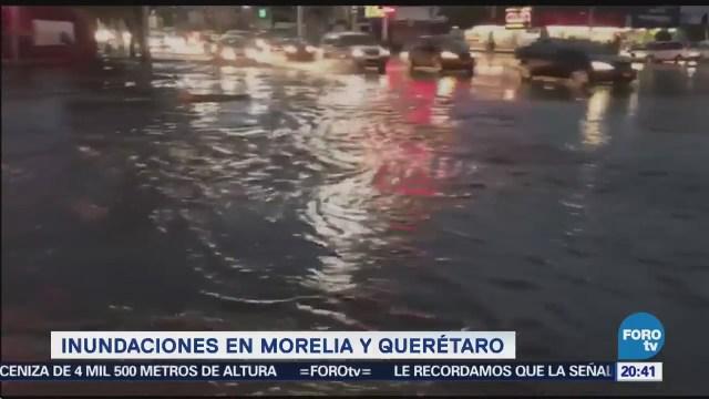 Inundación Morelia Querétaro Tráfico Encharcamientos Centro