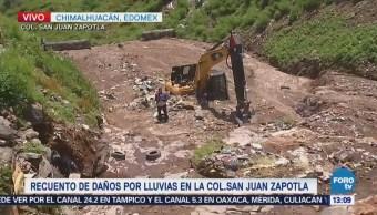 Inundaciones y lluvias en Chimalhuacán entierran retroexcavadora