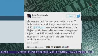 Javier Corral denuncia exoneración de Alejandro Gutiérrez