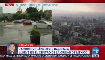 Llueve con intensidad en la Ciudad de México