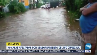 Lluvias provocan desbordamiento del río Chancalá Chiapas