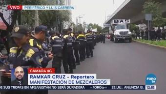 Manifestantes mezcaleros realizan mitin en Periférico Sur