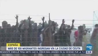 Más de 100 migrantes ingresan por Ceuta, España