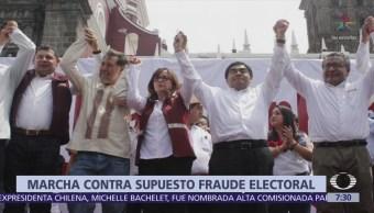 Miguel Barbosa encabeza marcha que denuncia fraude electoral