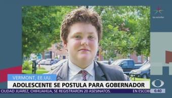 Niño de 14 años se postula como gobernador en Estados Unidos