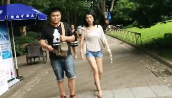 Parque Pueblo China Pareja Hijos Padres