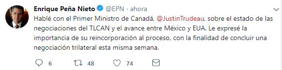Enrique Peña Nieto estableció que habló con Justin Trudeau sobre las negociaciones del TLCAN