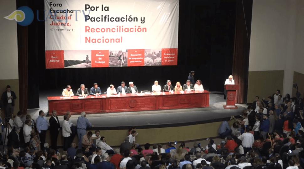 Inicia foro de pacificación de AMLO en Ciudad Juárez