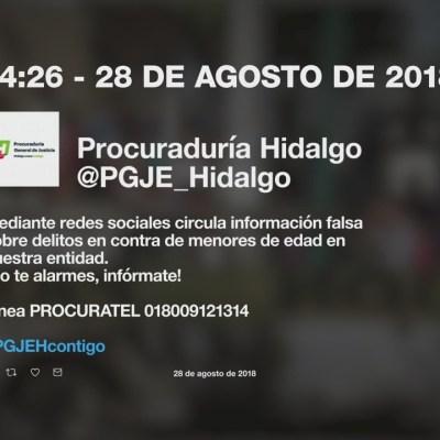 Procuraduría de Hidalgo advirtió sobre alerta falsa acerca de robo de niños