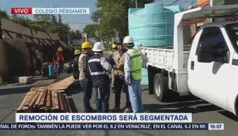 Remueven escombros del Colegio Rébsamen para demolición parcial