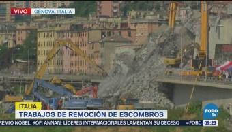 Continúan Los Trabajos Remoción De Escombros Génova Derrumbe Puente En Génova, Italia
