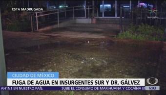 Se registra nueva fuga de agua en Insurgentes y Dr. Gálvez