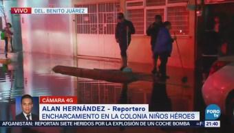 Se reporta una inundación en la delegación Benito Juárez