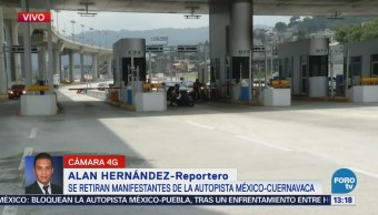 Se retiran manifestantes de la autopista México-Cuernavaca