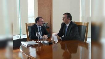 Se reúne Videgaray con Ebrard para coordinar transición