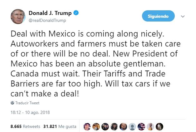 Trump destaca negociación con México sobre el TLCAN