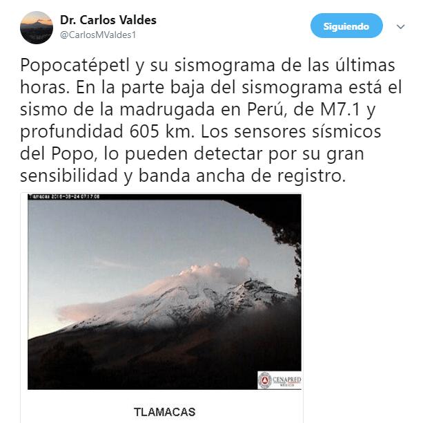 Earthquake in Peru was detected by Popocatépetl sensors