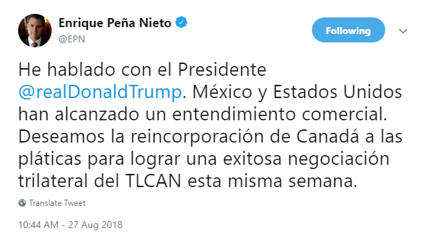 TLCAN: México y Estados Unidos anuncian acuerdo bilateral