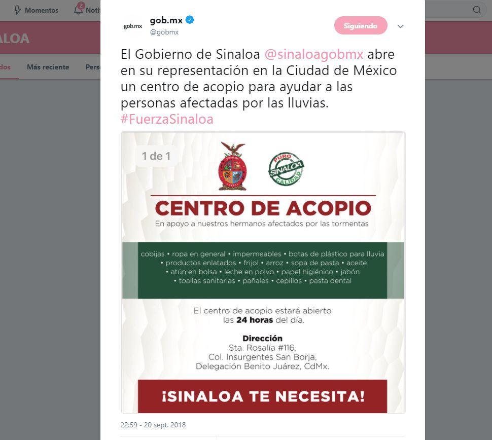 Abren centro de acopio para ayudar a Sinaloa