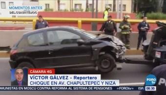Accidente automovilístico en avenida Chapultepec