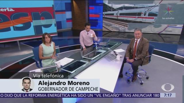 Alejandro Moreno, gobernador de Campeche, respalda tren maya
