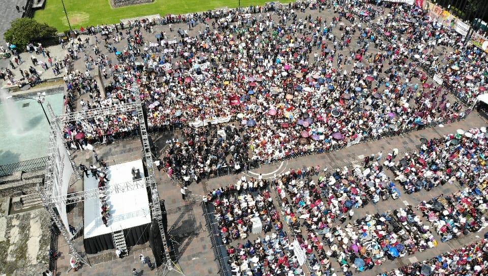 AMLO encabeza mitin en la Plaza de las Tres Culturas en Tlatelolco