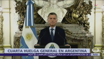 Argentina realiza la cuarta huelga general Mauricio Macri