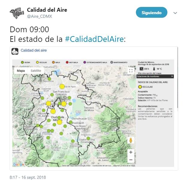 Calidad del aire hoy en CDMX 16 de septiembre
