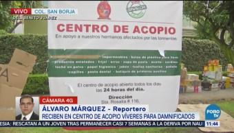 Centro de acopio en CDMX recibe víveres para damnificados