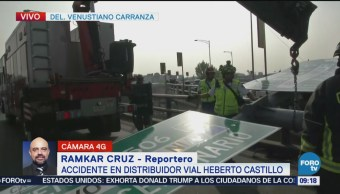 Complicado accidente en distribuidor vial Heberto Castillo